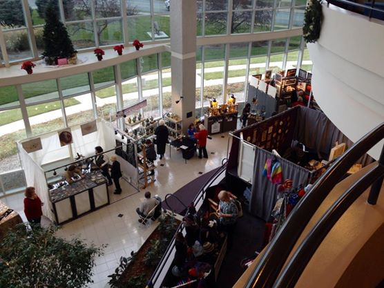 WinterFest 2014 booths seen from upper level of Hammons Hall lobby.